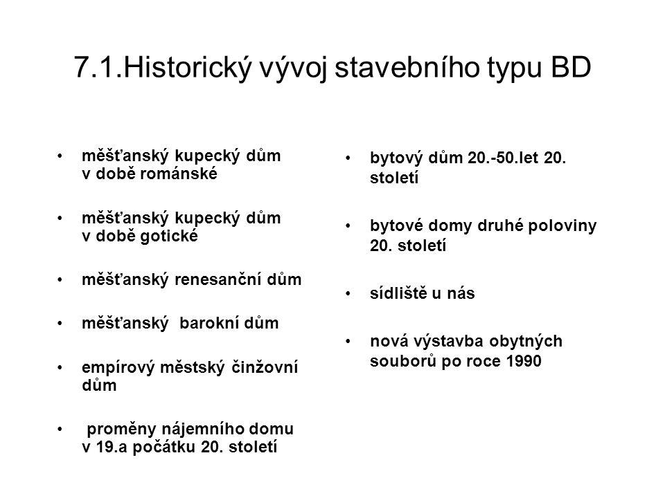 7.1.1.Historický vývoj stavebního typu BD Měšťanský kupecký dům v době románské 10.-11.stol.- vznik osad, obdělávání půdy a chov dobytka, později řemeslo a směnný obchod, v blízkosti křižovatek obchodních cest domy mají pevnostní charakter, volně stojící stavby seskupeny kolem ohrazeného dvora (viz obr.) kamenné silné zdi, dřevěný krov – vymezoval později šířku parcely řadových domů, odlišnost podle povolání majitele dispozice: nejčastěji dvě místnosti: úzká síň se schodištěm a jizba nebo tři místnosti za sebou, dole řemeslo a obchod, nahoře bydlení