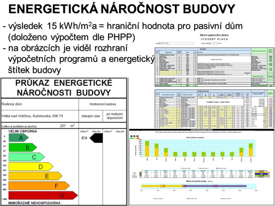 - výsledek 15 kWh/m 2 a = hraniční hodnota pro pasivní dům (doloženo výpočtem dle PHPP) (doloženo výpočtem dle PHPP) - na obrázcích je viděl rozhraní výpočetních programů a energetický výpočetních programů a energetický štítek budovy štítek budovy ENERGETICKÁ NÁROČNOST BUDOVY