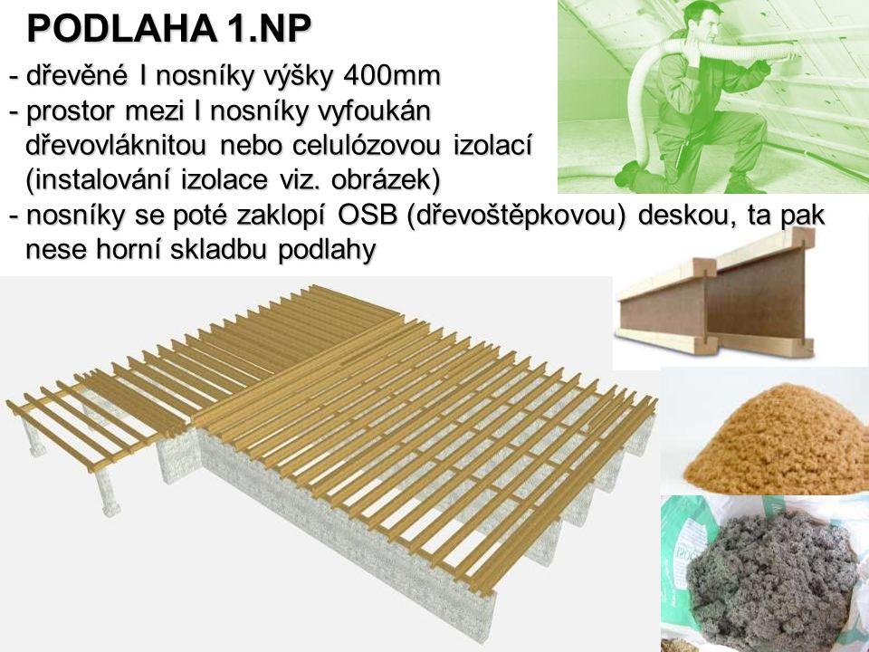 PODLAHA 1.NP - dřevěné I nosníky výšky 400mm - prostor mezi I nosníky vyfoukán dřevovláknitou nebo celulózovou izolací dřevovláknitou nebo celulózovou