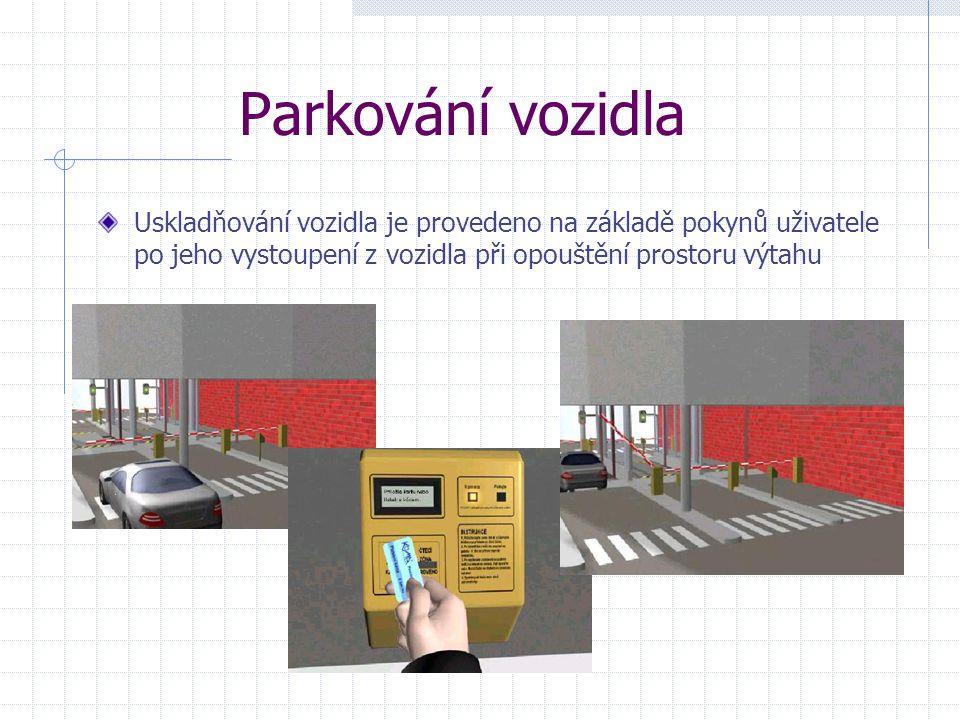 Parkování vozidla Uskladňování vozidla je provedeno na základě pokynů uživatele po jeho vystoupení z vozidla při opouštění prostoru výtahu