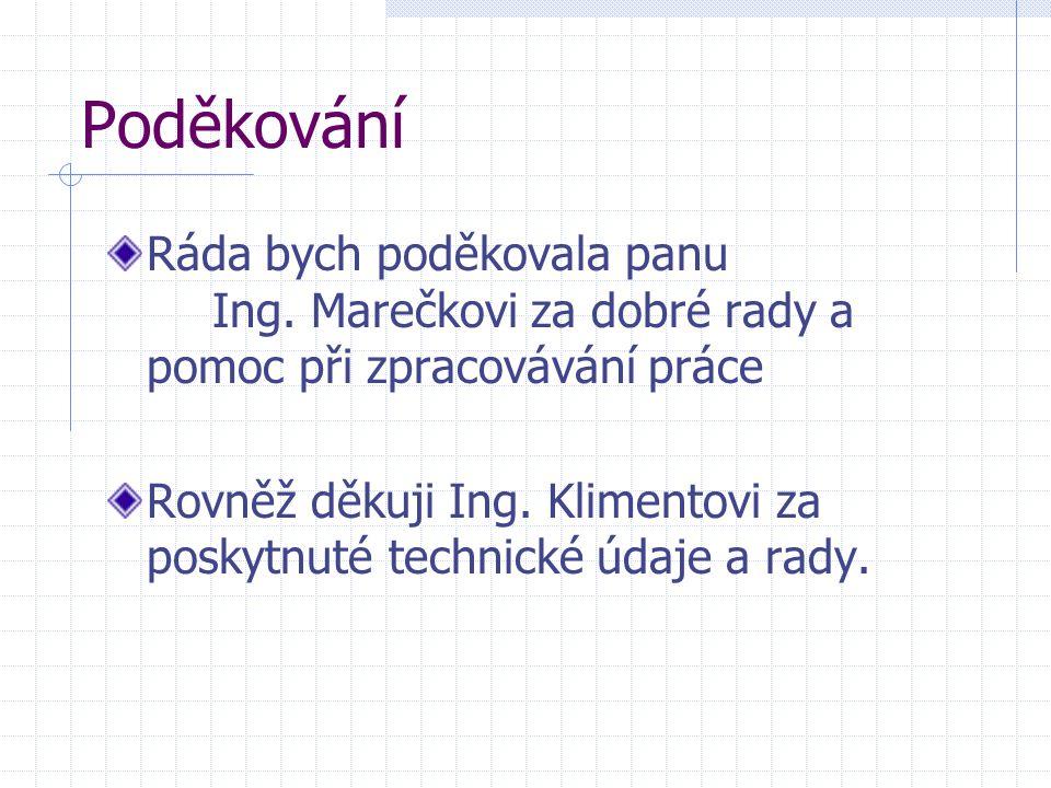 Poděkování Ráda bych poděkovala panu Ing. Marečkovi za dobré rady a pomoc při zpracovávání práce Rovněž děkuji Ing. Klimentovi za poskytnuté technické