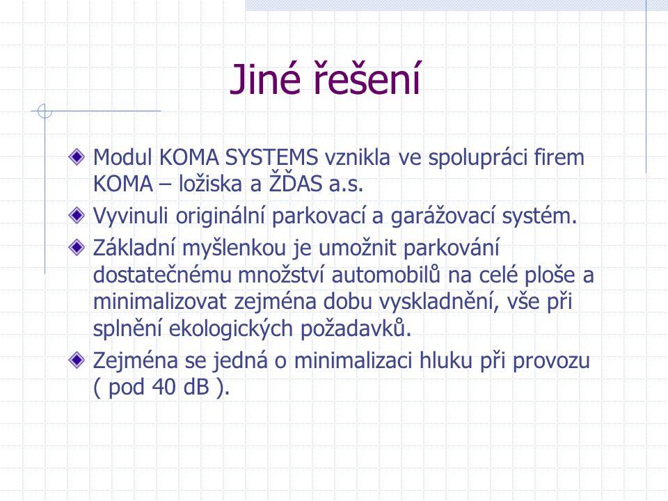 Jiné řešení Modul KOMA SYSTEMS vznikla ve spolupráci firem KOMA – ložiska a ŽĎAS a.s. Vyvinuli originální parkovací a garážovací systém. Základní myšl