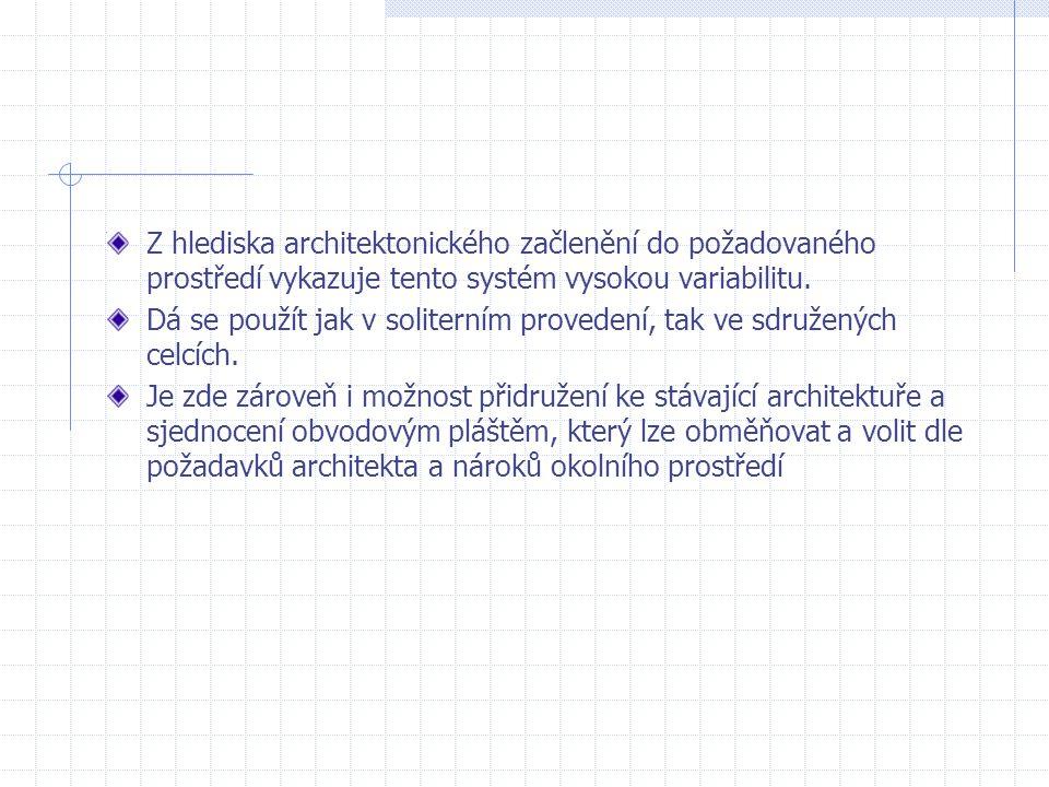 Z hlediska architektonického začlenění do požadovaného prostředí vykazuje tento systém vysokou variabilitu. Dá se použít jak v soliterním provedení, t