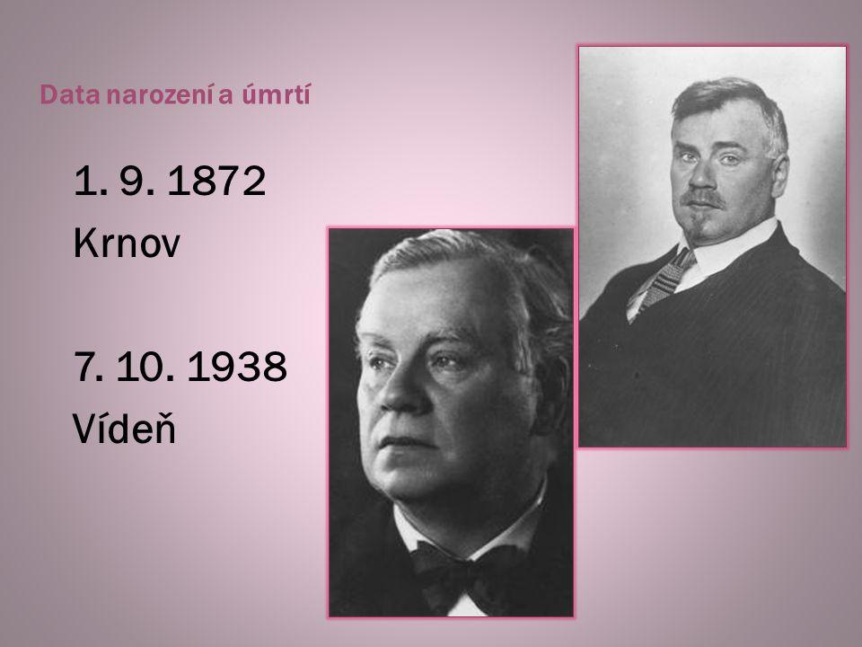 Data narození a úmrtí 1. 9. 1872 Krnov 7. 10. 1938 Vídeň