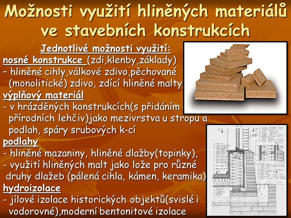 Možnosti využití hliněných materiálů ve stavebních konstrukcích Jednotlivé možnosti využití: nosné konstrukce (zdi,klenby,základy) – hliněné cihly,vál