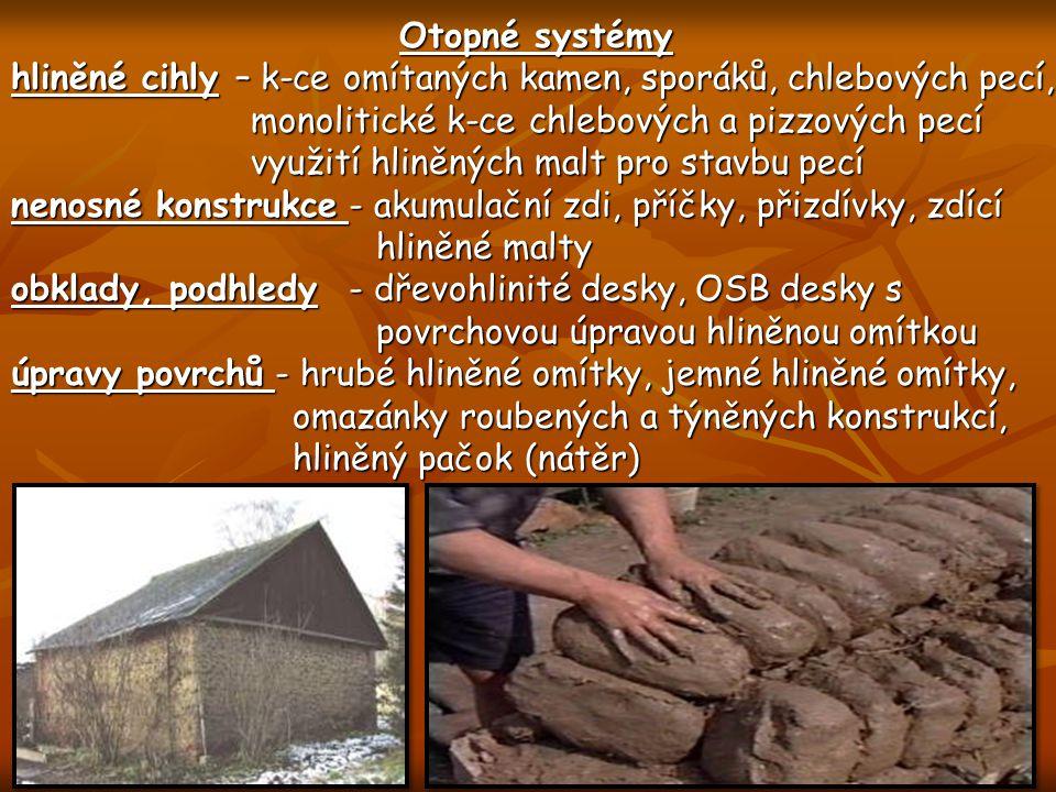 Otopné systémy hliněné cihly – k-ce omítaných kamen, sporáků, chlebových pecí, monolitické k-ce chlebových a pizzových pecí monolitické k-ce chlebovýc