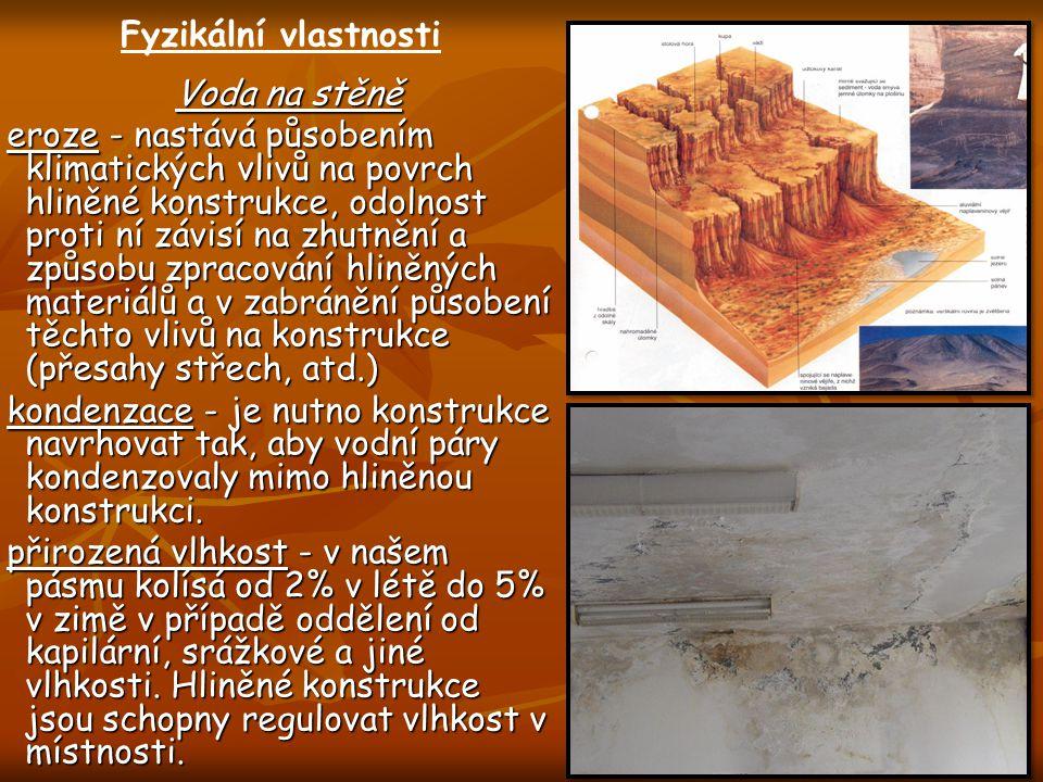 Voda na stěně eroze - nastává působením klimatických vlivů na povrch hliněné konstrukce, odolnost proti ní závisí na zhutnění a způsobu zpracování hli