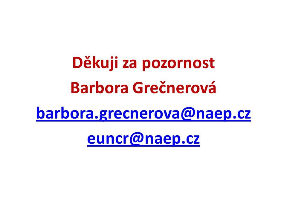 Děkuji za pozornost Barbora Grečnerová barbora.grecnerova@naep.cz euncr@naep.cz
