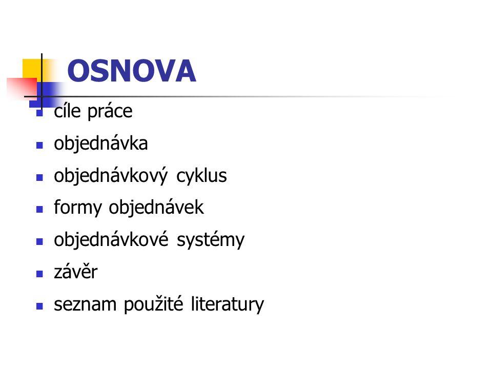 OSNOVA cíle práce objednávka objednávkový cyklus formy objednávek objednávkové systémy závěr seznam použité literatury