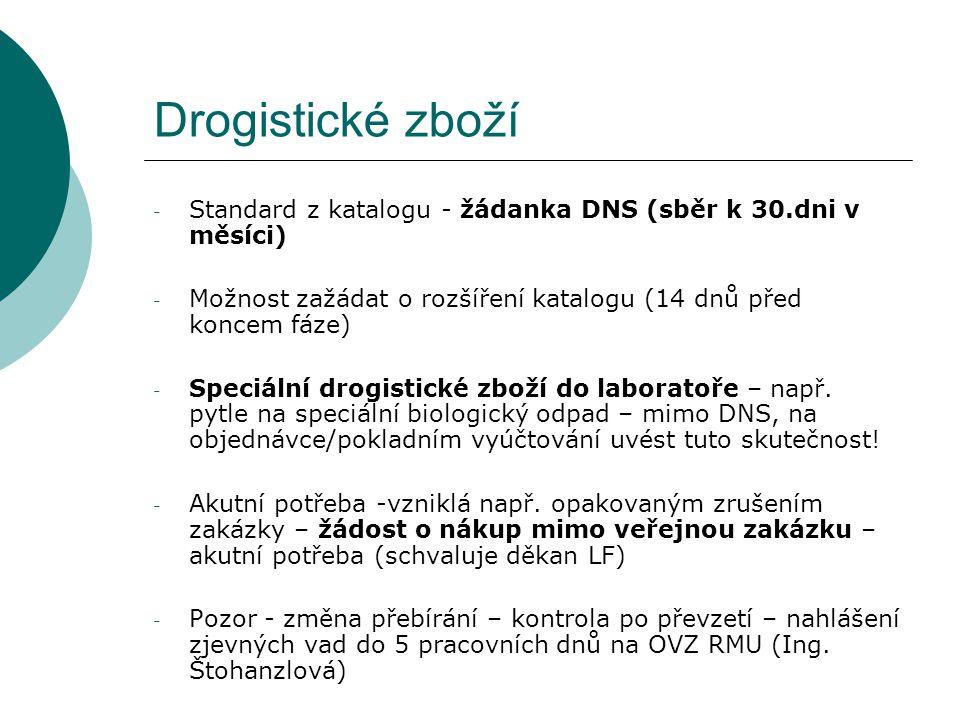 Drogistické zboží - Standard z katalogu - žádanka DNS (sběr k 30.dni v měsíci) - Možnost zažádat o rozšíření katalogu (14 dnů před koncem fáze) - Spec