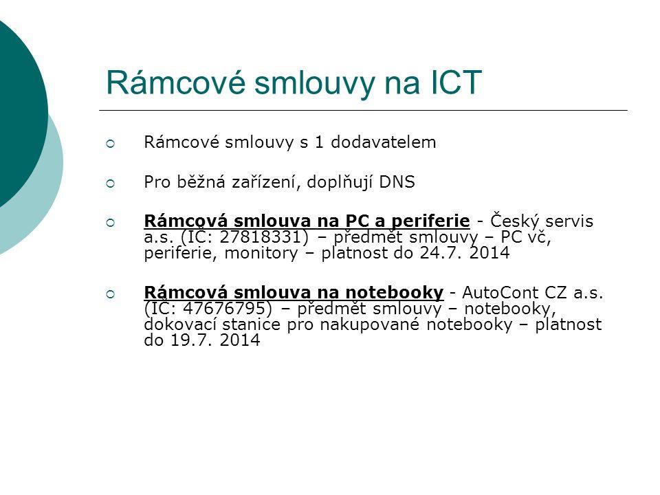 Rámcové smlouvy na ICT  Rámcové smlouvy s 1 dodavatelem  Pro běžná zařízení, doplňují DNS  Rámcová smlouva na PC a periferie - Český servis a.s. (I