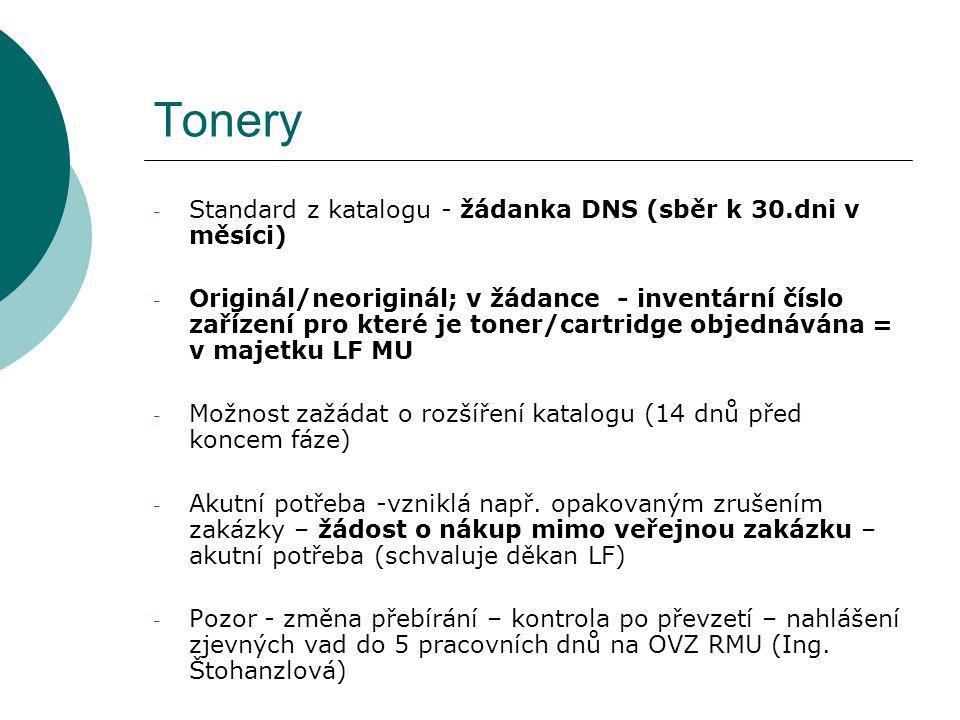 Tonery - Standard z katalogu - žádanka DNS (sběr k 30.dni v měsíci) - Originál/neoriginál; v žádance - inventární číslo zařízení pro které je toner/ca