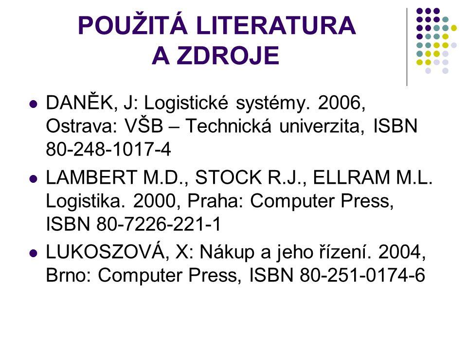 POUŽITÁ LITERATURA A ZDROJE DANĚK, J: Logistické systémy. 2006, Ostrava: VŠB – Technická univerzita, ISBN 80-248-1017-4 LAMBERT M.D., STOCK R.J., ELLR