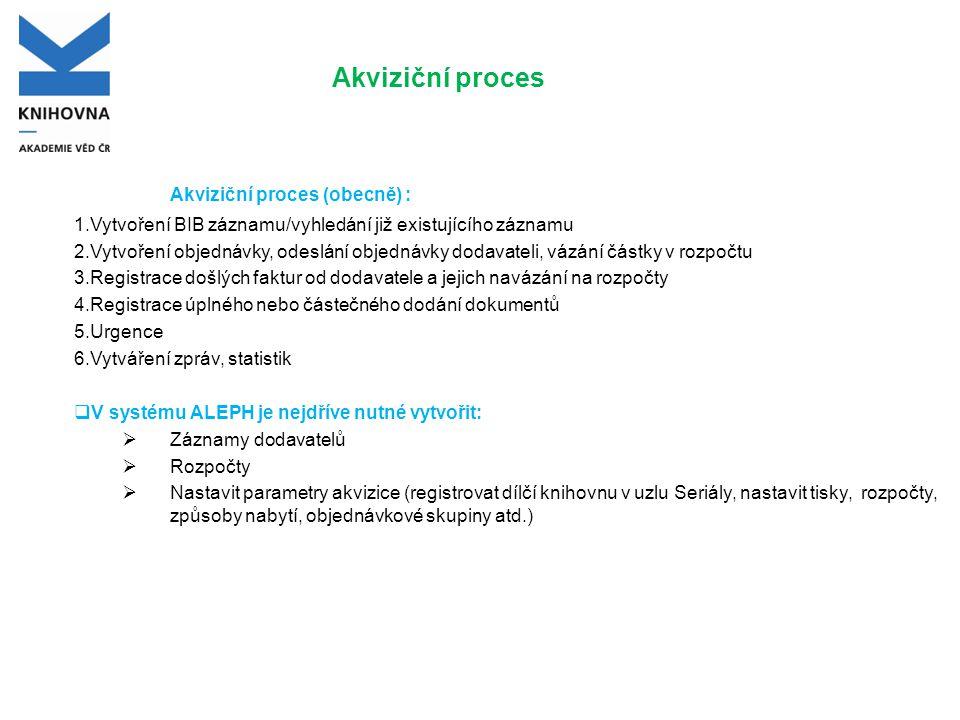 Akviziční proces  Objednávku vytváříte ke konkrétnímu BIB záznamu BIB záznam již existuje Vyhledáte záznam v modulu Katalogizace a přepnete se do modulu Akvizice Vyhledáte záznam v modulu Akvizice - záložka dalekohled nebo lišta objednávka BIB záznam je nutné nejdříve vytvořit BIB záznam vytvoříte v modulu katalogizace - pokud nejdříve vytváříte pouze zkrácený BIB záznam, lze využívat šablonu BK.MRC nebo zkrácenou šablonu AKVIZ.MRC (doplní se pole 040).