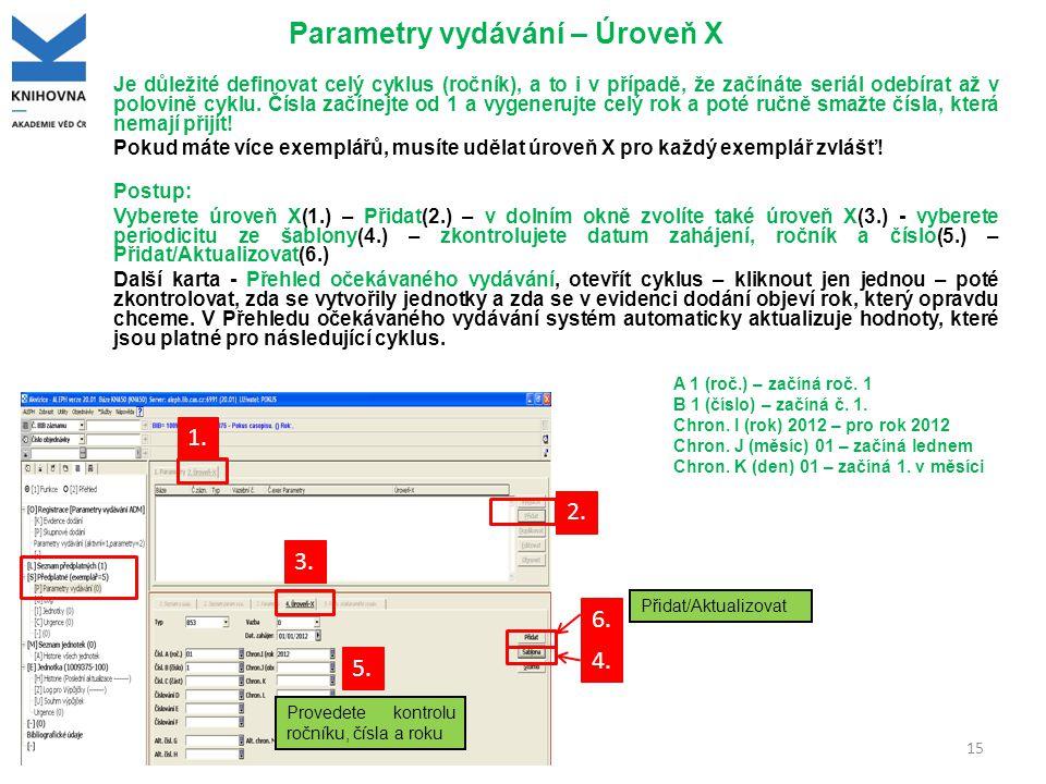 Parametry vydávání – Úroveň X Je důležité definovat celý cyklus (ročník), a to i v případě, že začínáte seriál odebírat až v polovině cyklu.