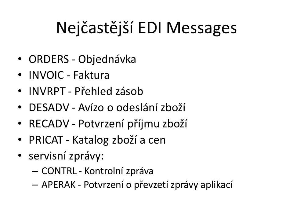 Nejčastější EDI Messages ORDERS - Objednávka INVOIC - Faktura INVRPT - Přehled zásob DESADV - Avízo o odeslání zboží RECADV - Potvrzení příjmu zboží P