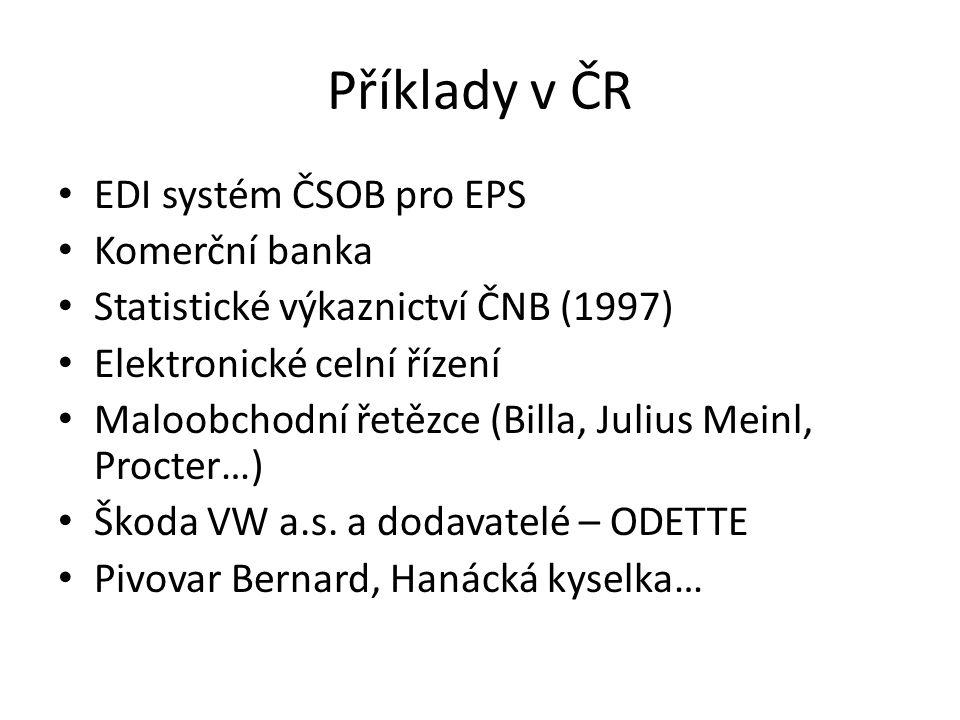 Příklady v ČR EDI systém ČSOB pro EPS Komerční banka Statistické výkaznictví ČNB (1997) Elektronické celní řízení Maloobchodní řetězce (Billa, Julius