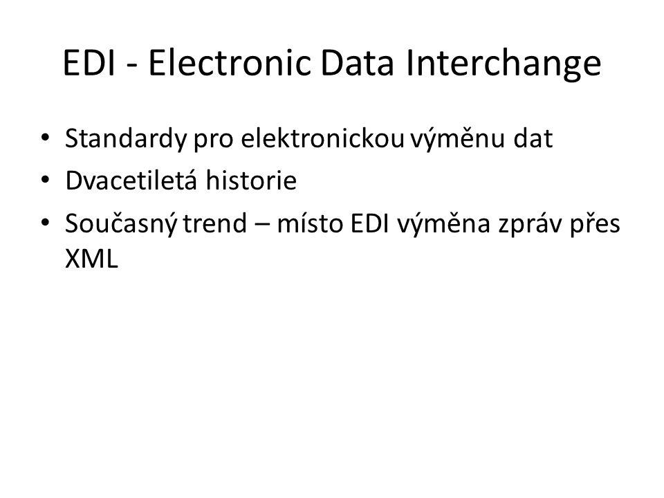 EDI - Electronic Data Interchange Standardy pro elektronickou výměnu dat Dvacetiletá historie Současný trend – místo EDI výměna zpráv přes XML
