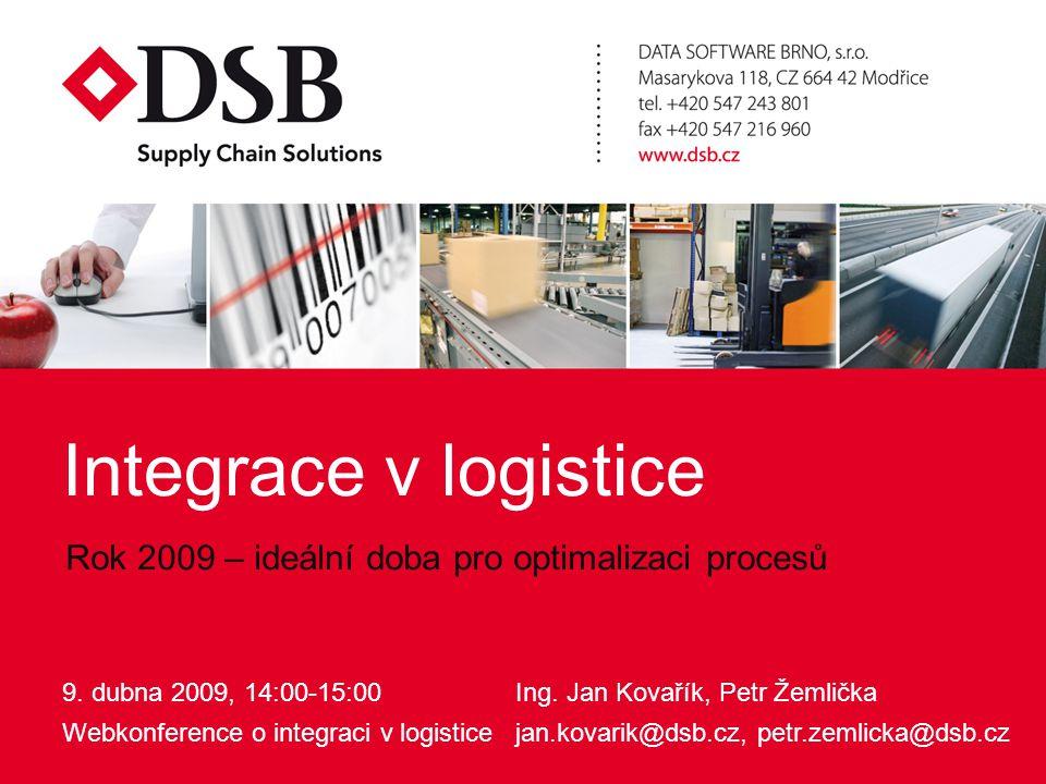 Integrace v logistice9.4.2009 Informace vyměňované mezi články řetězce  příjem objednávek pomocí různých kanálů (webový portál, email, telefon...),  bezpečné zpřístupnění vybraných informací, např.