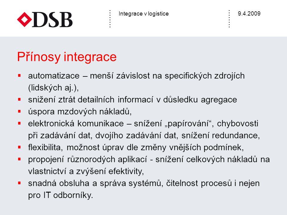 Integrace v logistice9.4.2009 Přínosy integrace  automatizace – menší závislost na specifických zdrojích (lidských aj.),  snižení ztrát detailních i