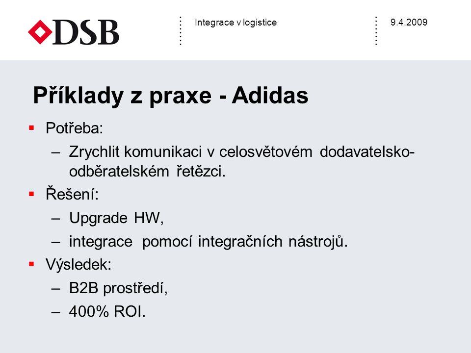 Integrace v logistice9.4.2009 Příklady z praxe - Adidas  Potřeba: –Zrychlit komunikaci v celosvětovém dodavatelsko- odběratelském řetězci.  Řešení: