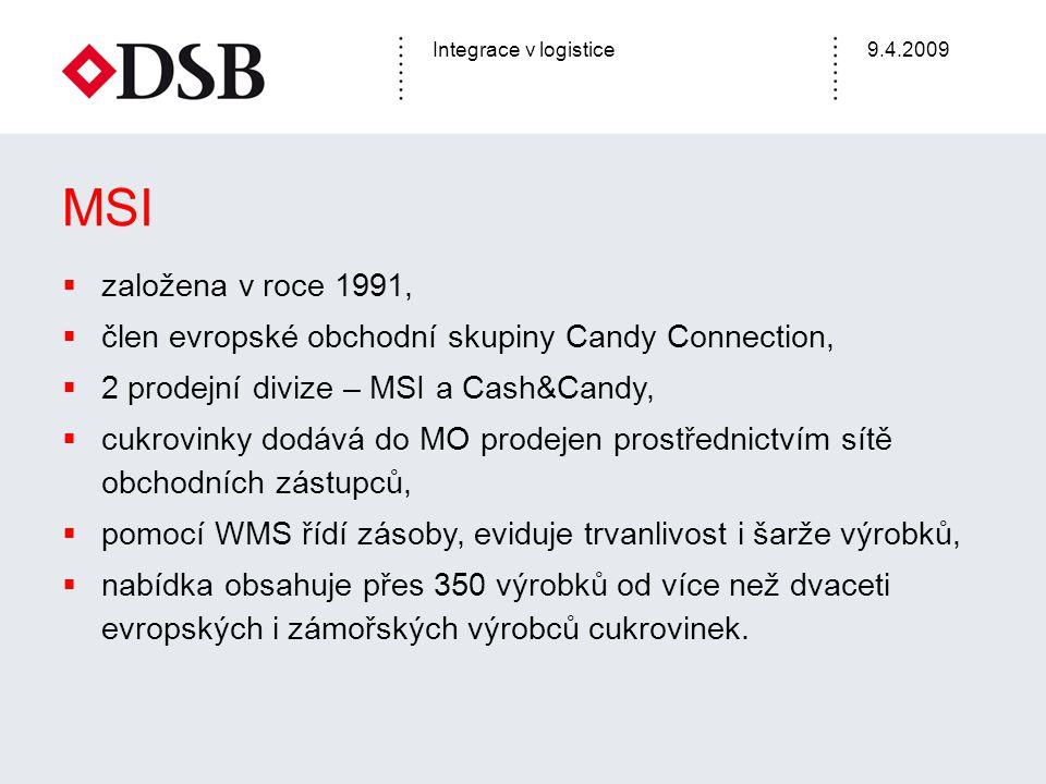 Integrace v logistice9.4.2009  založena v roce 1991,  člen evropské obchodní skupiny Candy Connection,  2 prodejní divize – MSI a Cash&Candy,  cuk