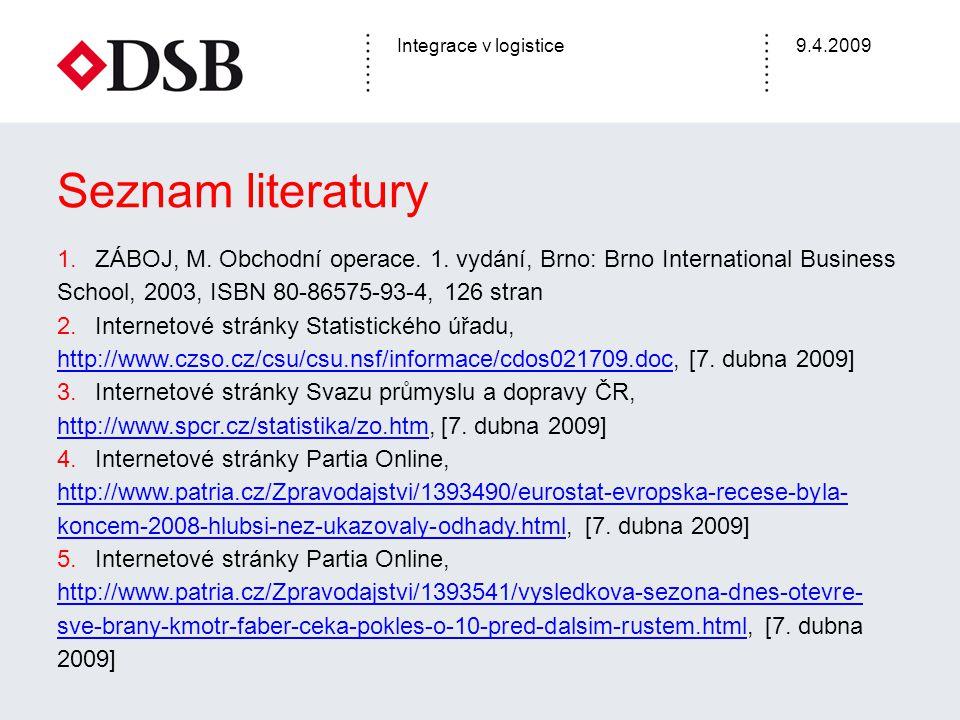 Integrace v logistice9.4.2009 Seznam literatury 1.ZÁBOJ, M. Obchodní operace. 1. vydání, Brno: Brno International Business School, 2003, ISBN 80-86575