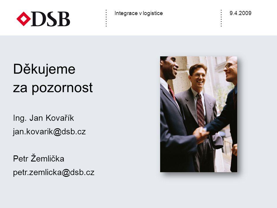 Integrace v logistice9.4.2009 Děkujeme za pozornost Ing. Jan Kovařík jan.kovarik@dsb.cz Petr Žemlička petr.zemlicka@dsb.cz