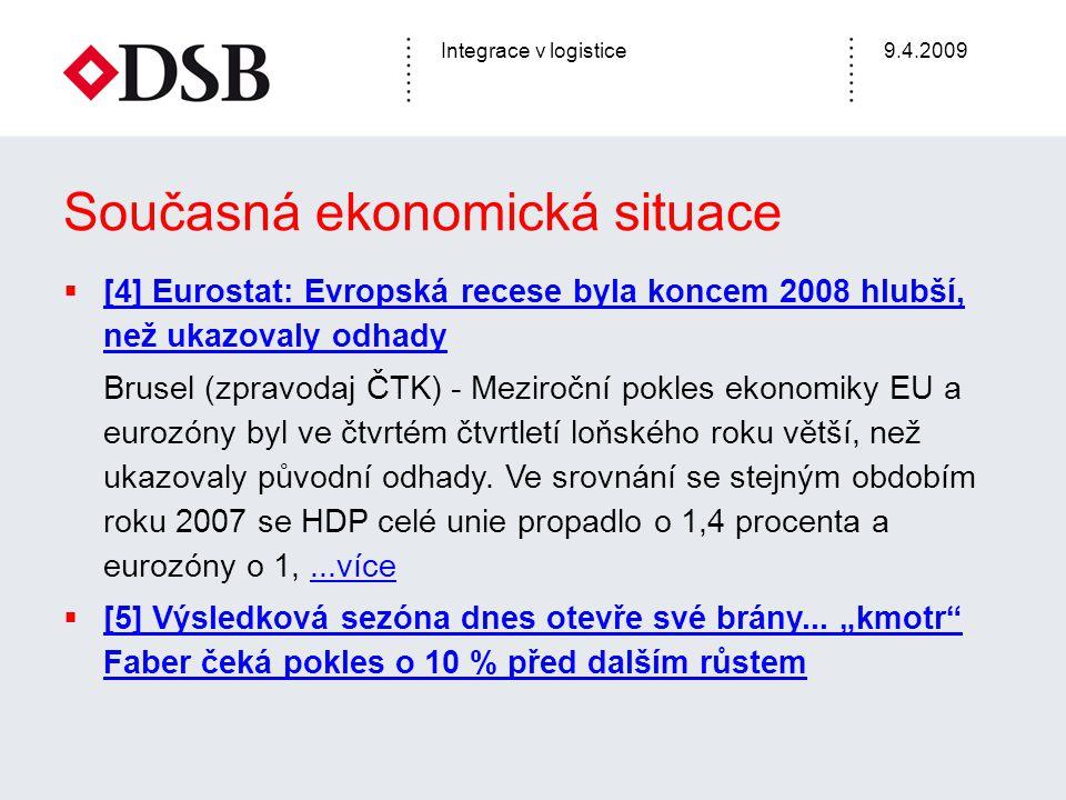 Integrace v logistice9.4.2009 Současná ekonomická situace  [4] Eurostat: Evropská recese byla koncem 2008 hlubší, než ukazovaly odhady [4] Eurostat: