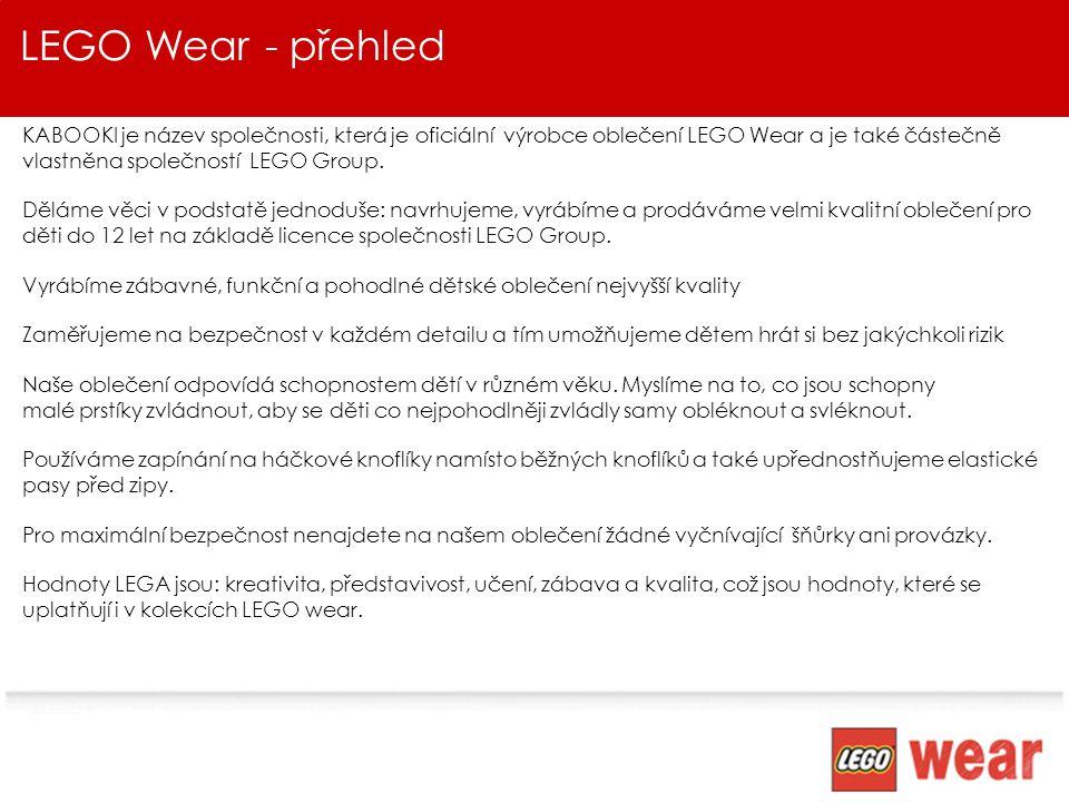 Shrnutí & Další kroky LEGO je pátá nejuznávanější značka na světě LEGO Wear je celoroční dodavatel s rozsahem 10 kolekcí Kolekce jsou navrhovány speciálně pro děti s ohledem na zábavu, kvalitu a především na bezpečnost Jsme flexibilní, ochotní a toužíme po vzájemné spolupráci Dělejme obchod, hledejme příležitosti a hlavně bavme se!!!