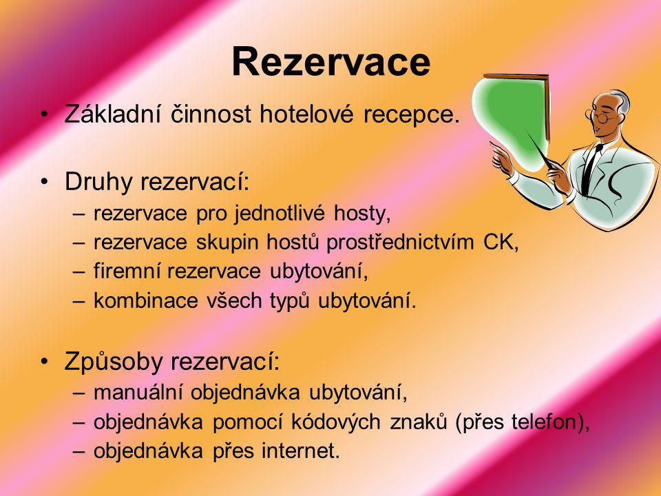Rezervace Základní činnost hotelové recepce. Druhy rezervací: –rezervace pro jednotlivé hosty, –rezervace skupin hostů prostřednictvím CK, –firemní re