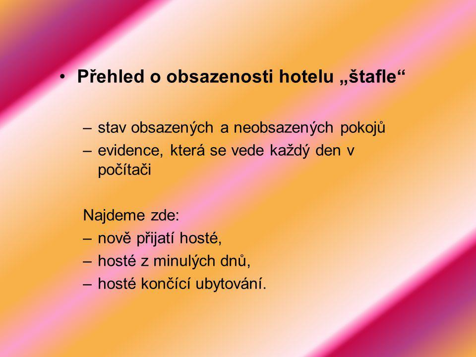 """Přehled o obsazenosti hotelu """"štafle –stav obsazených a neobsazených pokojů –evidence, která se vede každý den v počítači Najdeme zde: –nově přijatí hosté, –hosté z minulých dnů, –hosté končící ubytování."""