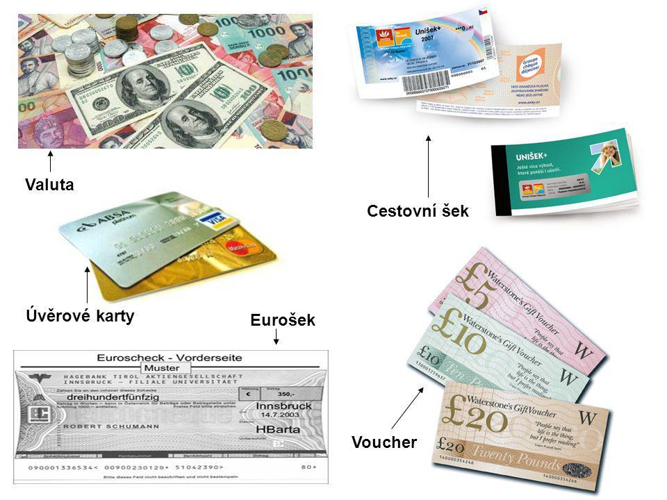 Valuta Úvěrové karty Eurošek Cestovní šek Voucher