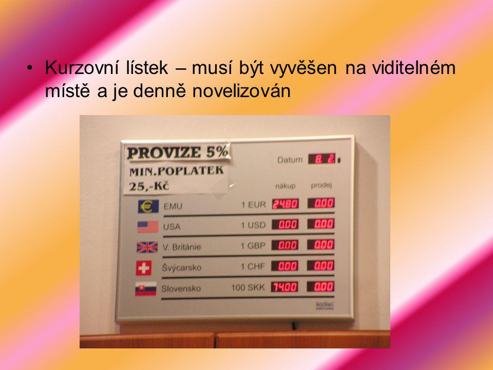 Kurzovní lístek – musí být vyvěšen na viditelném místě a je denně novelizován