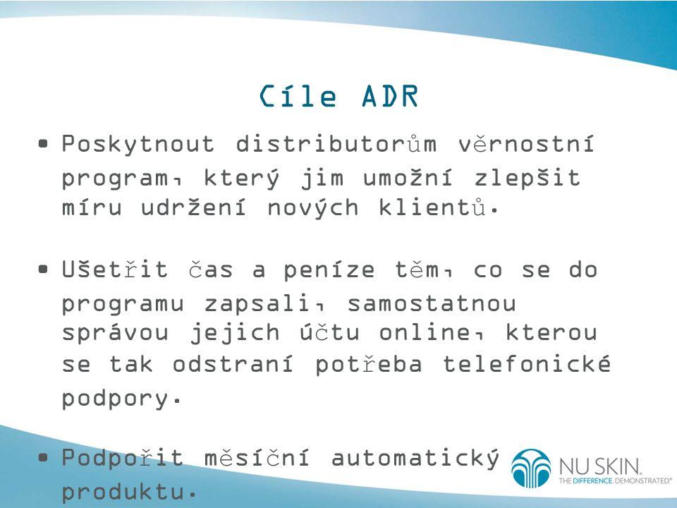 Cíle ADR Poskytnout distributorům věrnostní program, který jim umožní zlepšit míru udržení nových klientů. Ušetřit čas a peníze těm, co se do programu