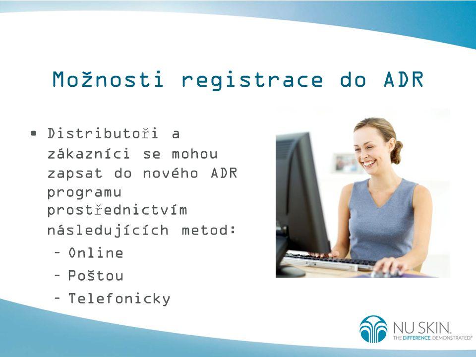 Možnosti registrace do ADR Distributoři a zákazníci se mohou zapsat do nového ADR programu prostřednictvím následujících metod: –Online –Poštou –Telefonicky