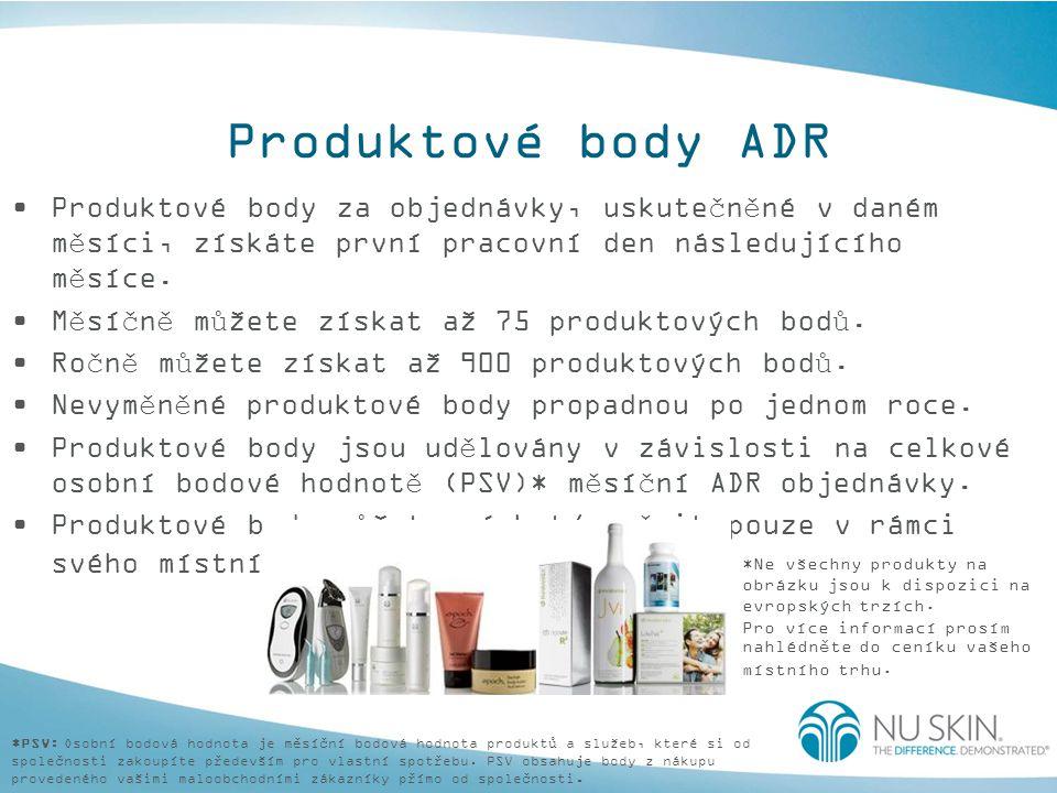 Produktové body ADR Produktové body za objednávky, uskutečněné v daném měsíci, získáte první pracovní den následujícího měsíce. Měsíčně můžete získat