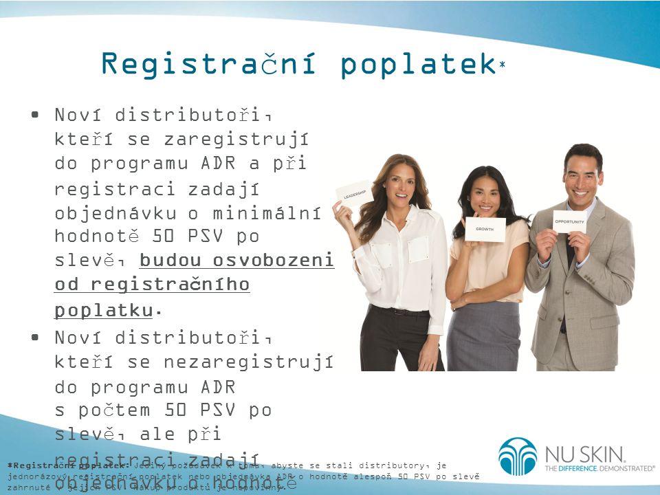Registrační poplatek * Noví distributoři, kteří se zaregistrují do programu ADR a při registraci zadají objednávku o minimální hodnotě 50 PSV po slevě