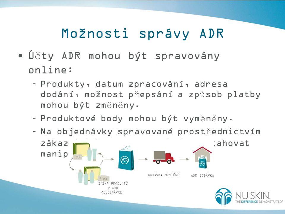 Možnosti správy ADR Účty ADR mohou být spravovány online: –Produkty, datum zpracování, adresa dodání, možnost přepsání a způsob platby mohou být změněny.