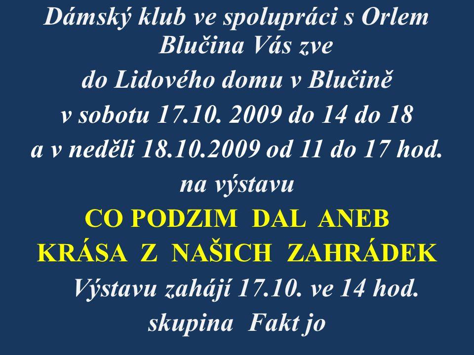 Dámský klub ve spolupráci s Orlem Blučina Vás zve do Lidového domu v Blučině v sobotu 17.10. 2009 do 14 do 18 a v neděli 18.10.2009 od 11 do 17 hod. n