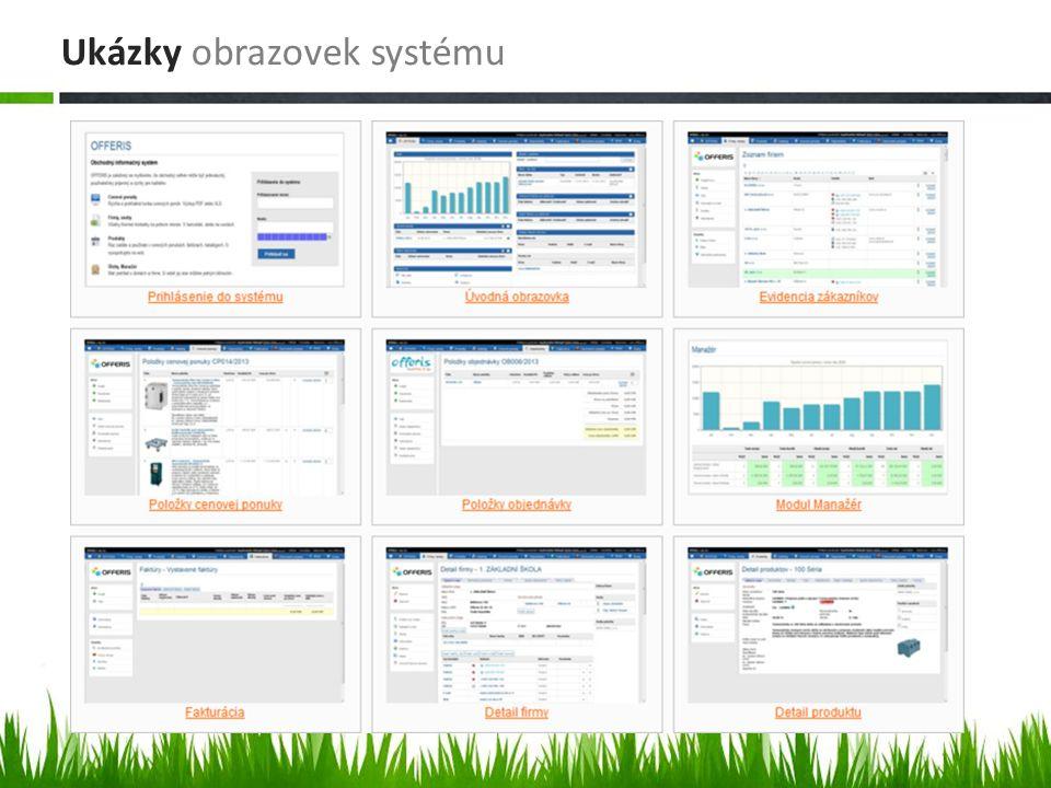 Ukázky obrazovek systému