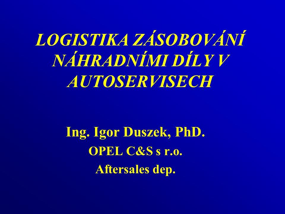 LOGISTIKA ZÁSOBOVÁNÍ NÁHRADNÍMI DÍLY V AUTOSERVISECH Ing.