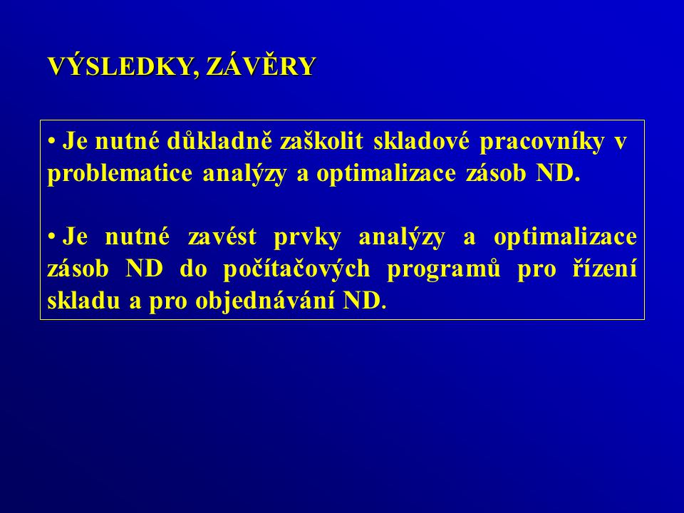 Je nutné důkladně zaškolit skladové pracovníky v problematice analýzy a optimalizace zásob ND.