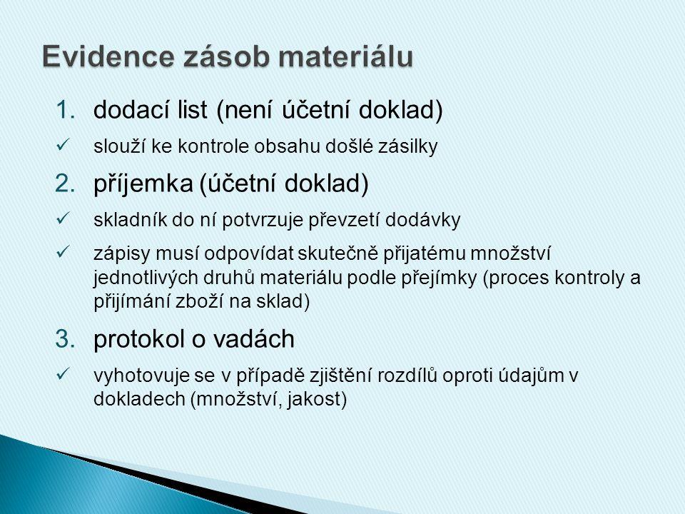1.dodací list (není účetní doklad) slouží ke kontrole obsahu došlé zásilky 2.příjemka (účetní doklad) skladník do ní potvrzuje převzetí dodávky zápisy