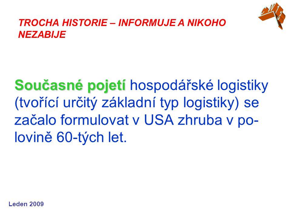 Leden 2009 Současné pojetí Současné pojetí hospodářské logistiky (tvořící určitý základní typ logistiky) se začalo formulovat v USA zhruba v po- lovině 60-tých let.