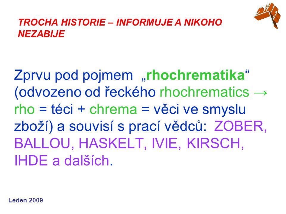 """Leden 2009 Zprvu pod pojmem """"rhochrematika (odvozeno od řeckého rhochrematics → rho = téci + chrema = věci ve smyslu zboží) a souvisí s prací vědců: ZOBER, BALLOU, HASKELT, IVIE, KIRSCH, IHDE a dalších."""