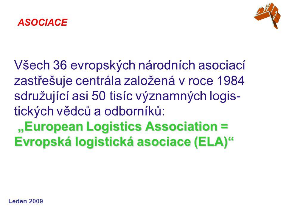 """Leden 2009 """"European Logistics Association = Evropská logistická asociace (ELA) Všech 36 evropských národních asociací zastřešuje centrála založená v roce 1984 sdružující asi 50 tisíc významných logis- tických vědců a odborníků: """"European Logistics Association = Evropská logistická asociace (ELA) ASOCIACE"""