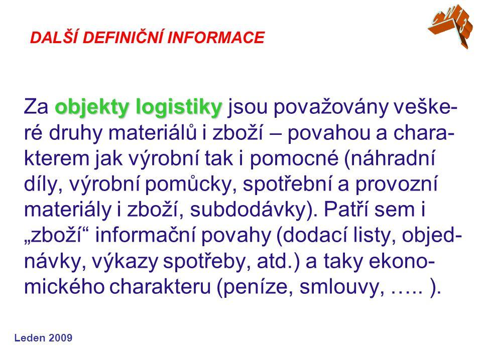 Leden 2009 DALŠÍ DEFINIČNÍ INFORMACE objekty logistiky Za objekty logistiky jsou považovány veške- ré druhy materiálů i zboží – povahou a chara- kterem jak výrobní tak i pomocné (náhradní díly, výrobní pomůcky, spotřební a provozní materiály i zboží, subdodávky).