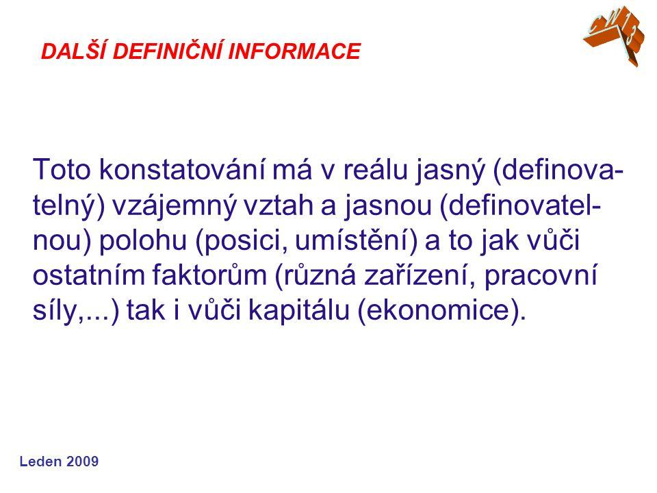 Leden 2009 Toto konstatování má v reálu jasný (definova- telný) vzájemný vztah a jasnou (definovatel- nou) polohu (posici, umístění) a to jak vůči ostatním faktorům (různá zařízení, pracovní síly,...) tak i vůči kapitálu (ekonomice).