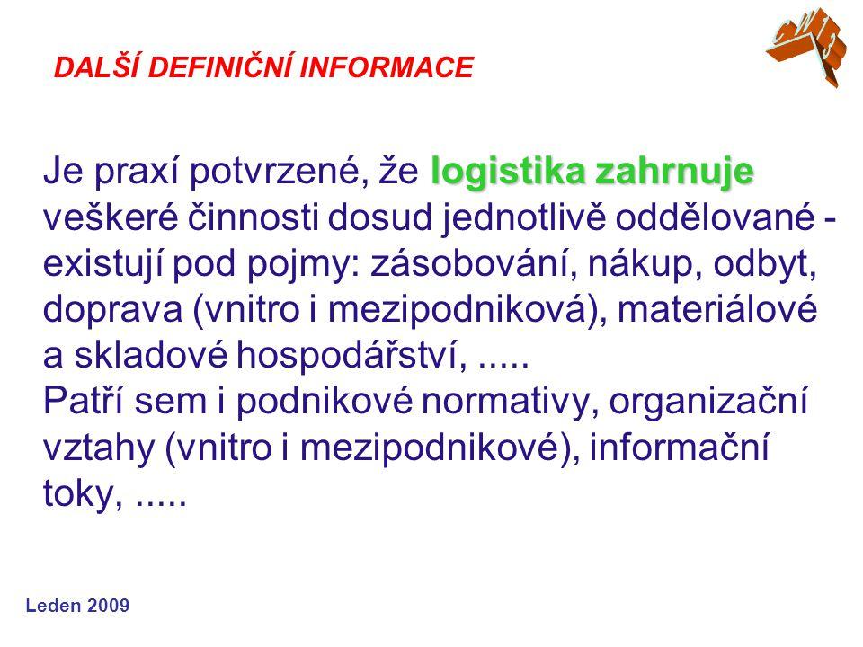Leden 2009 logistika zahrnuje Je praxí potvrzené, že logistika zahrnuje veškeré činnosti dosud jednotlivě oddělované - existují pod pojmy: zásobování, nákup, odbyt, doprava (vnitro i mezipodniková), materiálové a skladové hospodářství,.....